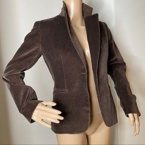 Tahari Brown Cotton Velvet Blazer Tailored Jacket